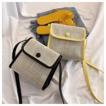 渡假風編織小方包磁釦翻蓋式肩背小包側背小女包熱賣款春夏必備編織包