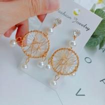 金屬圓形捕夢網造型珍珠鑽鑽耳釘耳環氣質珍珠垂墜耳環幾何圖形夾式耳環