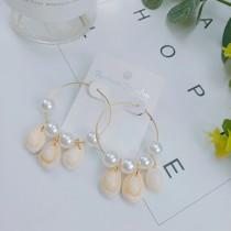 氣質文青海洋風貝殼造型珍珠大圈圈縷空耳環空靈優雅耳釘大耳環