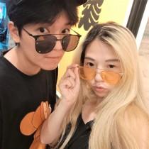 韓國方形潮流顏色太陽眼鏡俏皮百搭男墨鏡女墨鏡情侶墨鏡