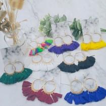 渡假必備縷空圓形流蘇造型耳釘耳環網紅款華麗流蘇夾式耳環