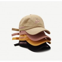 粉紅刺繡閃電造型簡約素款老帽潮流百搭棒球帽鴨舌帽