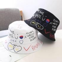 熱賣款潮流街頭時髦塗鴉造型漁夫帽盆帽原宿風男帽女帽遮陽防曬帽子