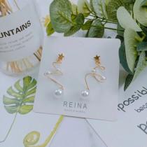 氣質優雅立體螺旋縷空造型珍珠耳環星星耳釘耳環金屬線條夾式耳環
