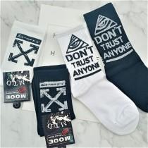 帥氣個性黑襪白襪潮流人士中筒襪男襪女襪百搭襪子