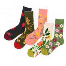 花花草草造型彩色潮流造型長襪百搭特色中筒襪女襪