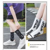 簡約帥氣黑白灰百搭英文字母襪子個性塗鴉圖案中筒襪男襪女襪