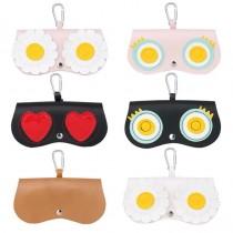 可愛大眼睛造型皮革可攜帶式眼鏡收納皮革包掛飾造型眼鏡小包