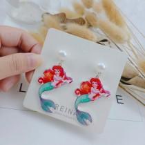 甜美系美人魚造型白色珍珠耳釘長形耳環可愛文青卡通造型耳環