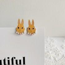 韓國超可愛兔子造型珍珠領子耳釘耳環小巧精緻兔兔貼耳耳環動物耳環