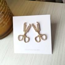 金色鑽鑽剪刀造型耳釘耳環個性特色blingbling閃亮剪刀貼耳耳環