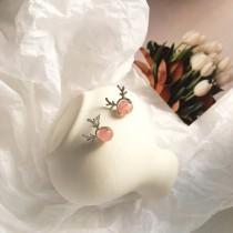 小巧精緻麋鹿寶石造型耳釘耳環迷你款鹿貼耳耳環