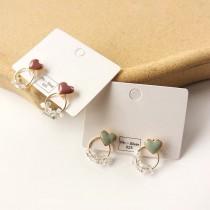 簡約小巧精緻可愛滴油愛心耳釘縷空圓形水晶設計耳釘耳環