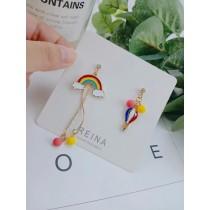 韓國滴油彩虹熱氣球造型耳釘耳環長形兩邊不對稱可愛俏皮夾式耳環