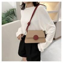 氣質撞色優雅大圓釦造型硬殼手提包韓國優雅肩背小包側背女包