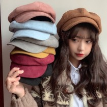 秋冬必備八角帽貝蕾帽南瓜帽英倫復古畫家帽厚版毛料保暖造型帽女帽