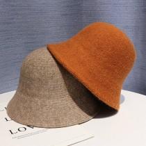 氣質優雅毛呢料造型漁夫帽純色保暖女帽鐘形帽時髦韓國女帽