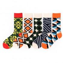 熱賣款繽紛款幾何圖形線條樣式潮流中筒襪男襪女襪滑板襪