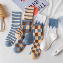 韓國潮撞色格子拼接情侶襪藍白大地色文藝青年百搭棉質運動襪男女百搭中筒襪