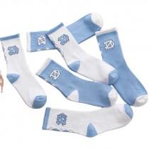 文藝青年藍白清爽百搭棉質運動襪中筒襪男襪女襪滑板襪潮流襪
