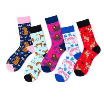 動物花樣棉質運動中筒襪撞色潮流襪男襪女襪滑板襪花豹熊鹿造型襪
