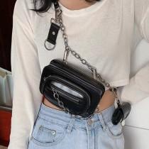 韓國代購原創街頭潮流皮革小包機能鏈條肩側背子母包百搭帥氣胸包小方包