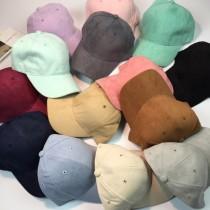 簡約純色絨料材質超色系老帽男女帽棒球帽鴨舌帽防曬遮陽保暖帽