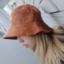 韓國百搭厚版燈芯絨簡約純色漁夫帽造型盆帽男帽女帽保暖情侶帽