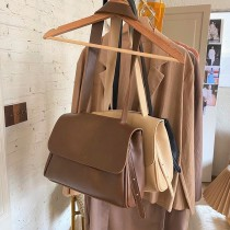 韓國新款秋冬翻蓋包氣質上班上課實用包pu包純色素款百搭大容量肩側背女包