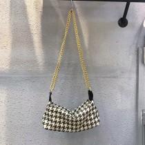 時髦金屬鏈條包氣質肩背手拿千鳥紋水餃包方形包優雅率性百搭女包