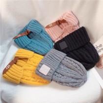 秋冬熱賣英文字R設計麻花編織厚版毛線保暖反摺長型毛帽氣質優雅女毛帽冷帽