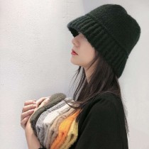 韓國仿羊絨毛線漁夫帽子女帽韓國潮流造型秋冬百搭保暖戶外針織水桶盆帽