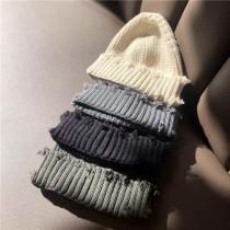 韓國男女秋冬破洞個性帥氣毛線帽歐美范休閒毛邊針織帽學生戶外保暖冷帽