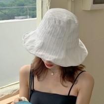 韓國漁夫帽子春夏天輕薄柔軟條紋水桶帽日系簡約遮陽盆帽遮陽優雅波浪大帽檐