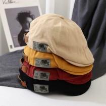 英倫風純色貼標字母個性帽男女四季時髦率性百搭帆布鴨舌帽貝雷帽造型小偷帽
