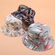 韓國新款南洋花朵渡假感漁夫帽潮帽男女日系3D印花盆帽夏天戶外平頂百搭遮陽帽防曬帽子