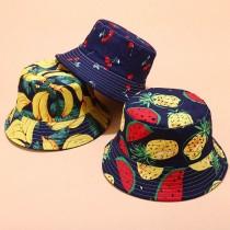 繽紛色系新款熱帶水果印花圖案漁夫帽女夏季戶外運動遮陽帽子休閒盆帽雙面戴男帽女帽遮陽防曬帽
