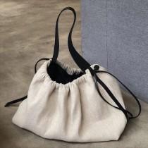 韓國東大門撞色抽繩麻布料帆布包手提包包女大容量隨性文青大女包旅行包水餃包