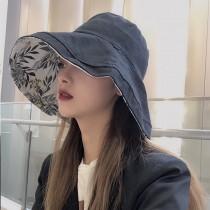 雙面戴漁夫帽女素色面花色面日系大帽檐百搭防曬紫外線遮陽帽子夏韓國網紅防太陽女帽