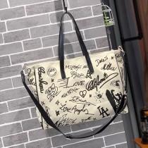 黑白塗鴉帆布設計手提托特大容量包包肩背側背購物袋個性造型女大包