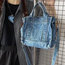 韓國復古時髦個性休閒水洗牛仔布包包女新款潮夏天單肩背斜背軟版小包