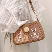 韓國熱賣款造型質感馬鞍包卡通塗鴉手提女包肩背包側背小女包