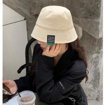 時髦百搭色系黑色貼標漁夫帽水桶帽韓國盆帽遮陽防曬熱賣款女帽