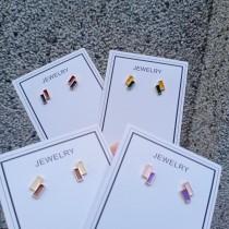 熱賣款小巧精緻撞色長方形耳釘耳環糖果色甜美耳釘耳環