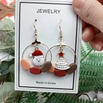 聖誕系列手工設計木質造型耳環聖誕老公公造型聖誕樹造型耳環