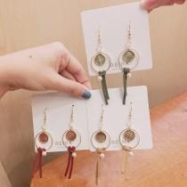 韓國圓形造型飾品氣質修飾長形耳環幾何圖形垂墜飾品