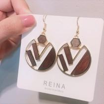 金屬幾何圖形木質文青感造型耳環夾式耳環百搭簡約飾品