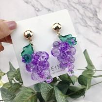 華麗特色水晶葡萄造型耳釘耳環水果造型垂墜耳環