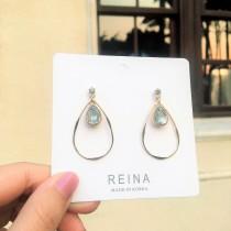 韓國氣質白鑽鑽金色水滴造型耳環精緻質感夾式耳環