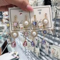 歐美華麗寶石氣質鑽鑽長型耳環垂掛飾品時尚質感耳環